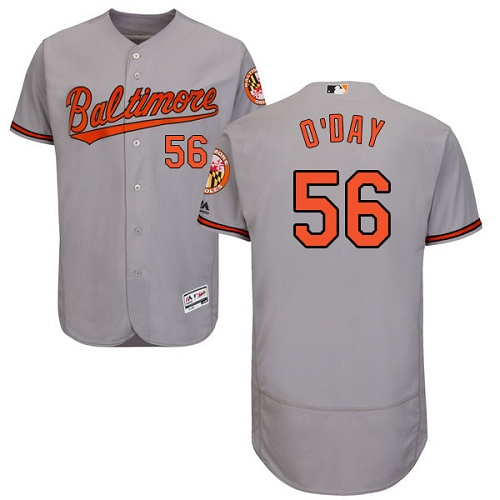 Orioles #56 Darren O'Day Grey Flexbase Authentic Collection Stitched MLB Jersey