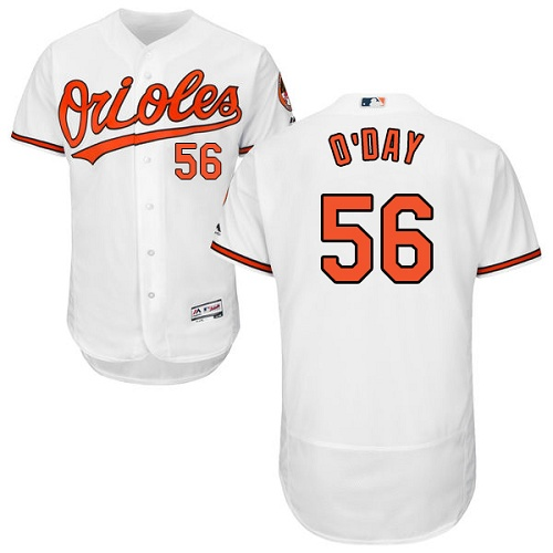 Orioles #56 Darren O'Day White Flexbase Authentic Collection Stitched MLB Jersey