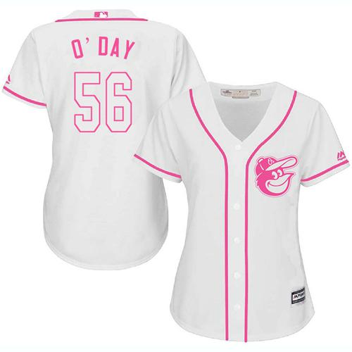 Orioles #56 Darren O'Day White Pink Fashion Women's Stitched MLB Jersey
