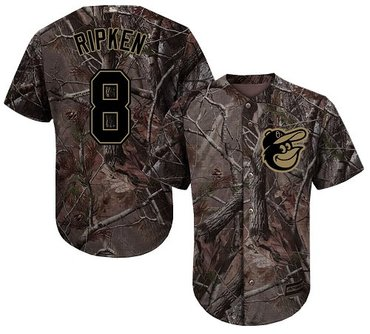 Orioles #8 Cal Ripken Camo Realtree Collection Cool Base Stitched Baseball Jersey