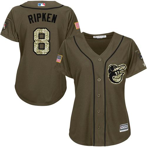 Orioles #8 Cal Ripken Green Salute to Service Women's Stitched MLB Jersey
