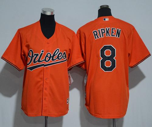 Orioles #8 Cal Ripken Orange Cool Base Stitched Youth MLB Jersey