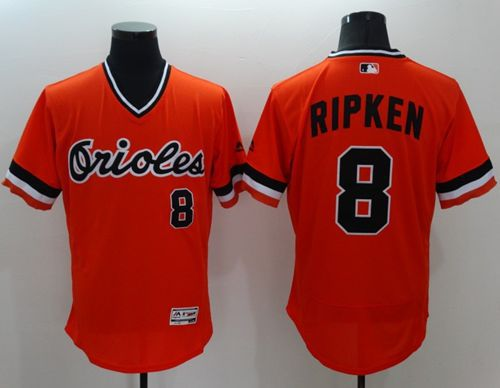 Orioles #8 Cal Ripken Orange Flexbase Authentic Collection Cooperstown Stitched MLB Jersey