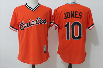 Orioles 10 Adam Jones Orange Throwback Jersey