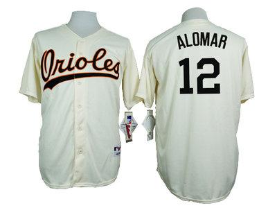 Orioles 12 Roberto Alomar Cream 1954 Turn Back The Clock Throwback Jersey