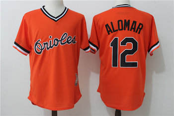 Orioles 12 Roberto Alomar Orange Throwback Jersey