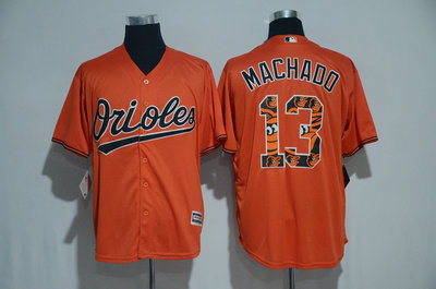 Orioles 13 Manny Machado Orange Team Logo Print Cool Base Jersey