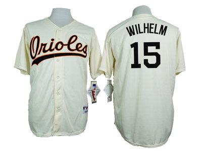 Orioles 15 Hoyt Wilhelm Cream 1954 Turn Back The Clock Throwback Jersey