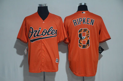 Orioles 8 Cal Ripken Jr. Orange Team Logo Print Cool Base Jersey