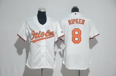 Orioles 8 Cal Ripken Jr. White Women Cool Base Jersey