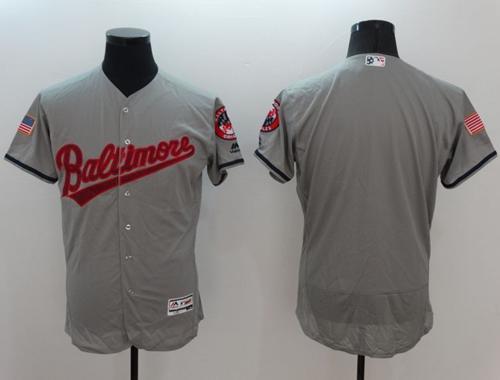 Orioles Blank Grey Fashion Stars & Stripes Flexbase Authentic Stitched MLB Jersey