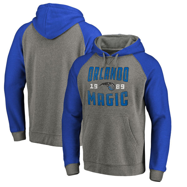 Orlando Magic Fanatics Branded Ash Antique Stack Tri Blend Raglan Pullover Hoodie