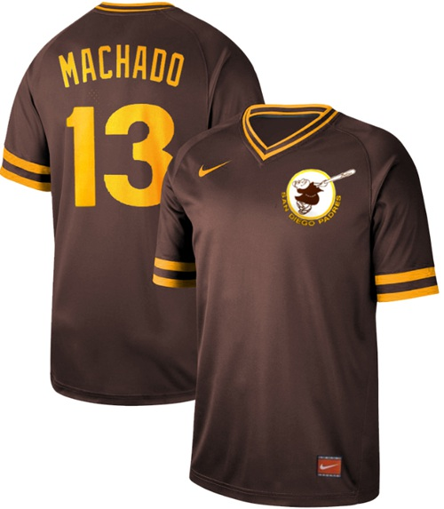 Padres #13 Manny Machado Brown Authentic Cooperstown Collection Stitched Baseball Jersey