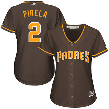 Padres #2 Jose Pirela Brown Alternate Women's Stitched Baseball Jersey