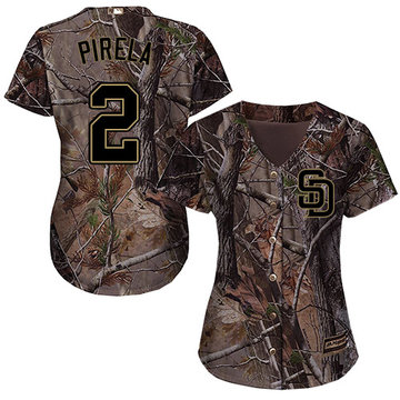 Padres #2 Jose Pirela Camo Realtree Collection Cool Base Women's Stitched Baseball Jersey