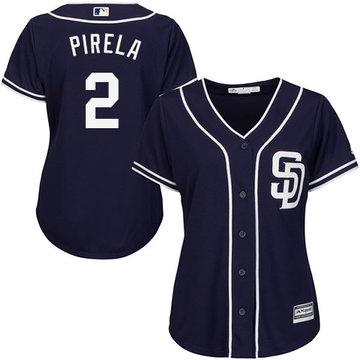 Padres #2 Jose Pirela Navy Blue Alternate Women's Stitched Baseball Jersey