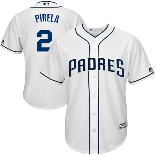 Padres #2 Jose Pirela White Cool Base Stitched Youth Baseball Jersey