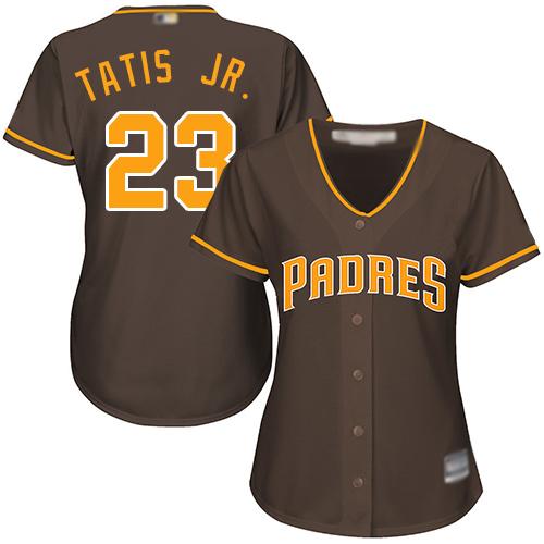Padres #23 Fernando Tatis Jr. Brown Alternate Women's Stitched Baseball Jersey