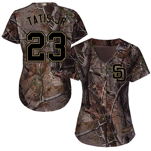 Padres #23 Fernando Tatis Jr. Camo Realtree Collection Cool Base Women's Stitched Baseball Jersey