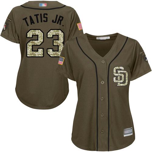 Padres #23 Fernando Tatis Jr. Green Salute to Service Women's Stitched Baseball Jersey