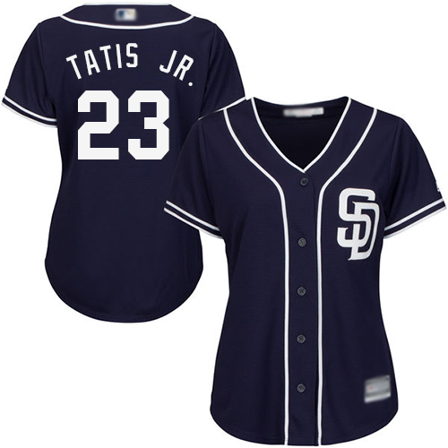 Padres #23 Fernando Tatis Jr. Navy Blue Alternate Women's Stitched Baseball Jersey