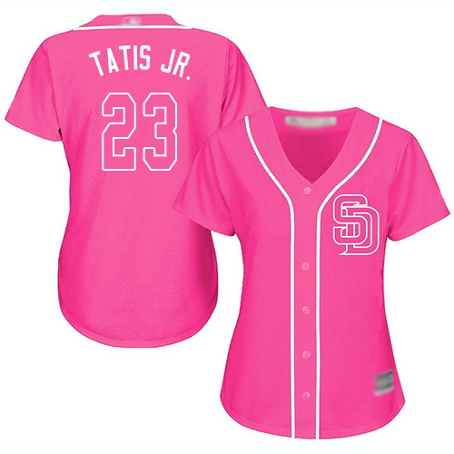 Padres #23 Fernando Tatis Jr. Pink Fashion Women's Stitched Baseball Jersey