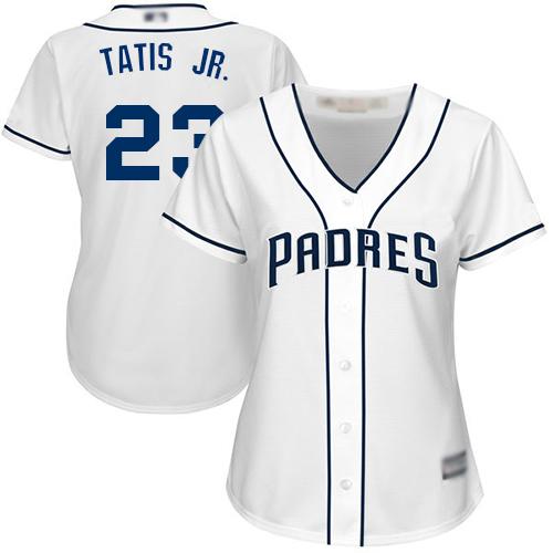 Padres #23 Fernando Tatis Jr. White Home Women's Stitched Baseball Jersey
