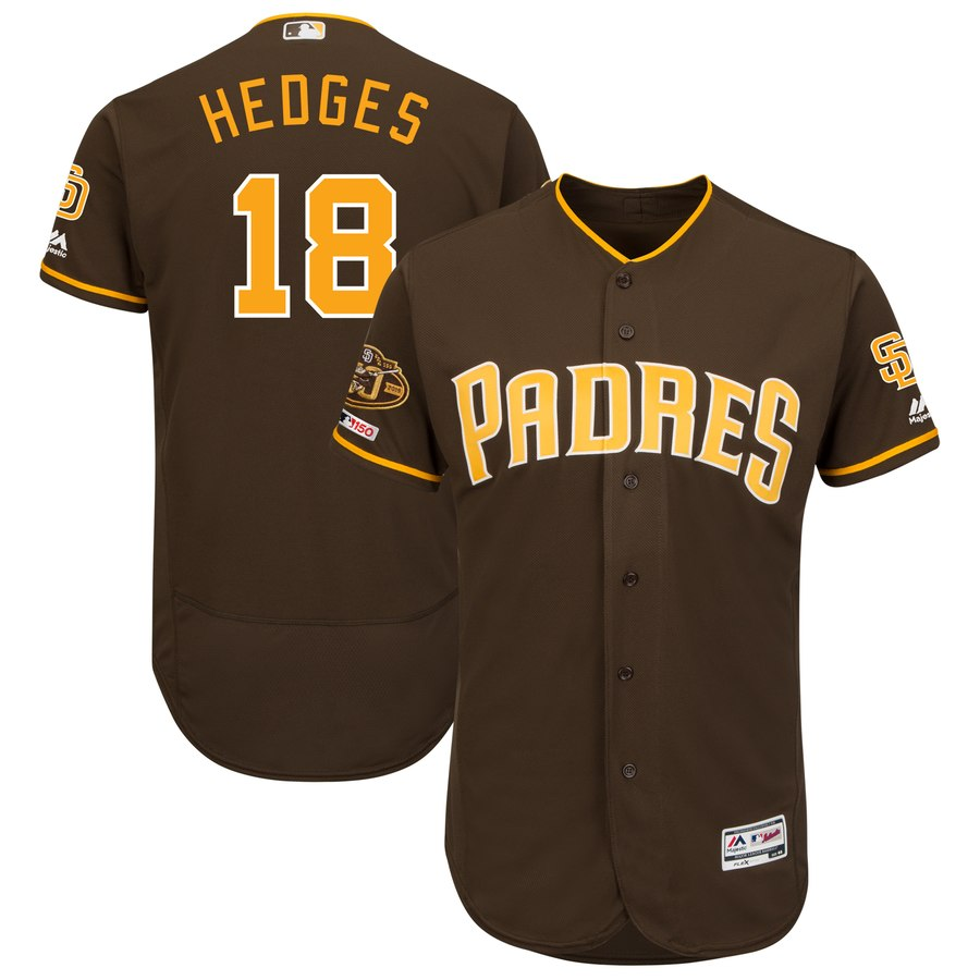 Padres 18 Austin Hedges Brown 50th Anniversary And 150th Patch FlexBase Jersey
