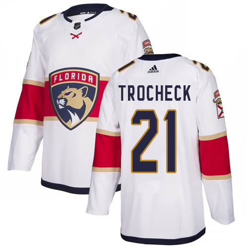 Panthers #21 Vincent Trocheck White Road Authentic Stitched Hockey Jersey
