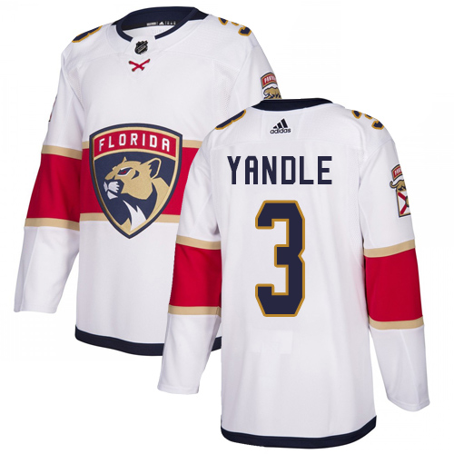 Panthers #3 Keith Yandle White Road Authentic Stitched Hockey Jersey