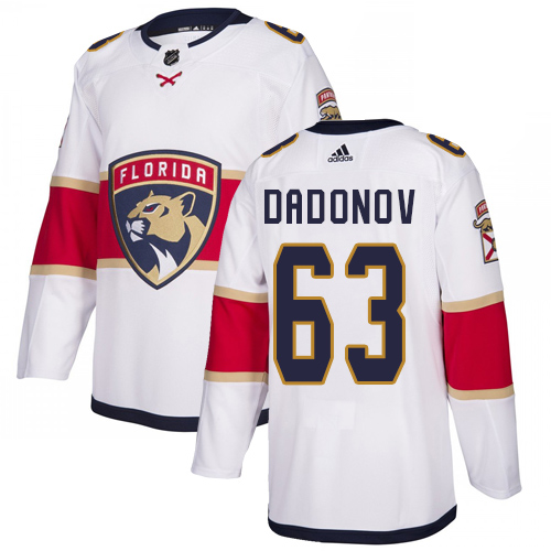 Panthers #63 Evgenii Dadonov White Road Authentic Stitched Hockey Jersey