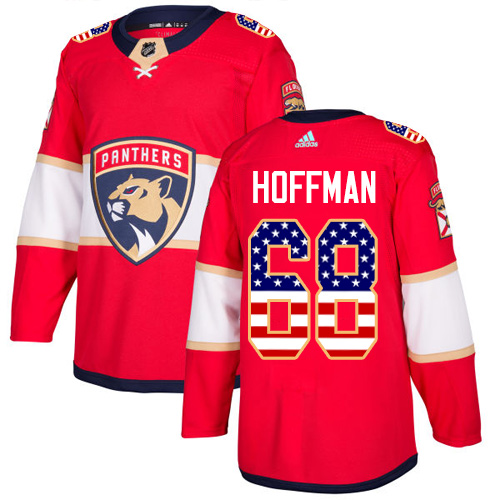 Panthers #68 Mike Hoffman Red Home Authentic USA Flag Stitched Hockey Jersey