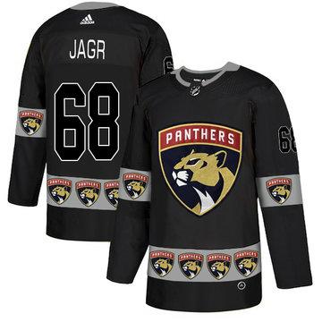 Panthers 68 Jaromir Jagr Black Team Logos Fashion Adidas Jersey