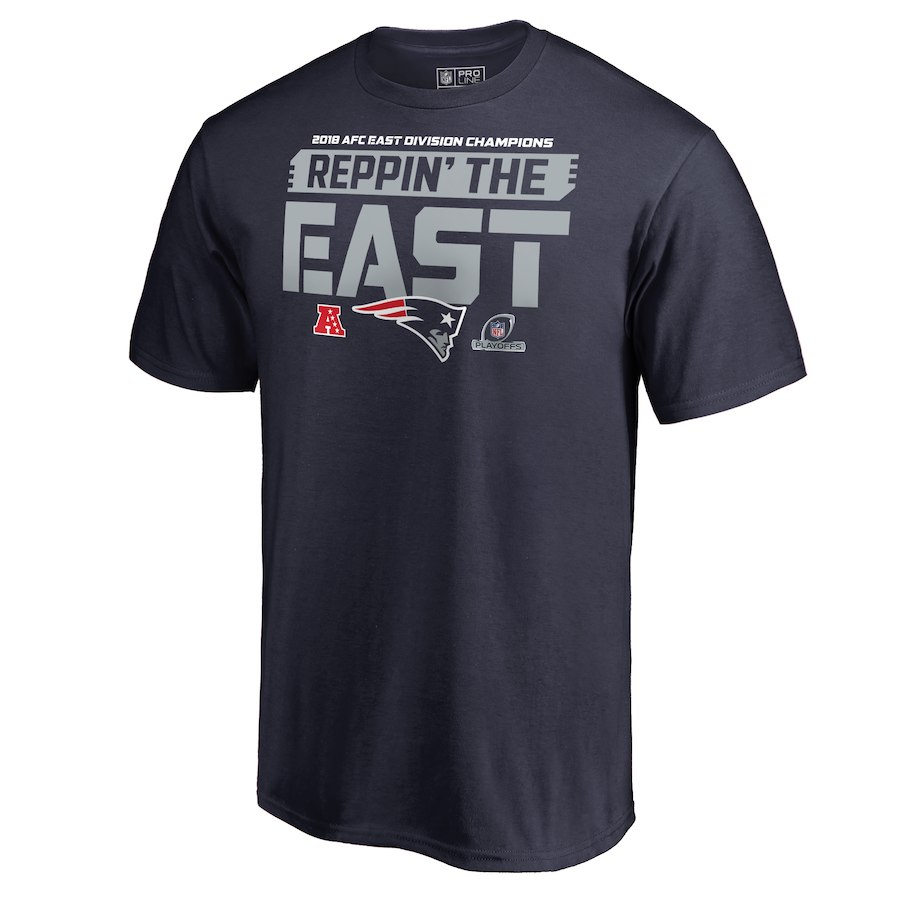 Patriots Navy 2018 NFL Playoffs Reppin' The East Men's T-Shirt