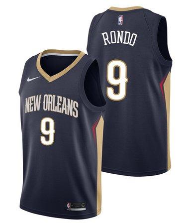 Pelicans 9 Rajon Rondo Navy Nike Swingman Jersey