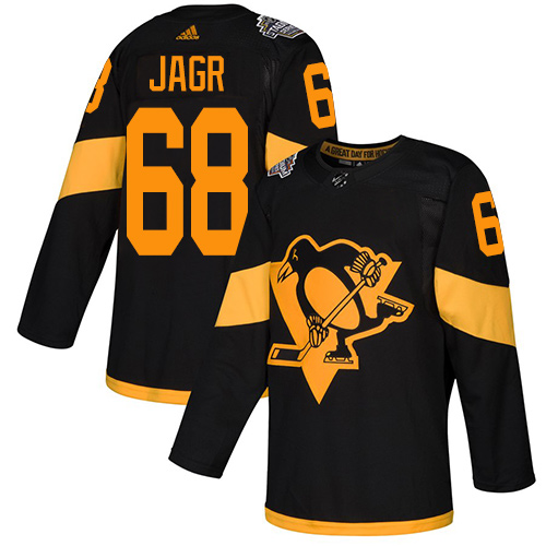 Penguins #68 Jaromir Jagr Black Authentic 2019 Stadium Series Stitched Hockey Jersey