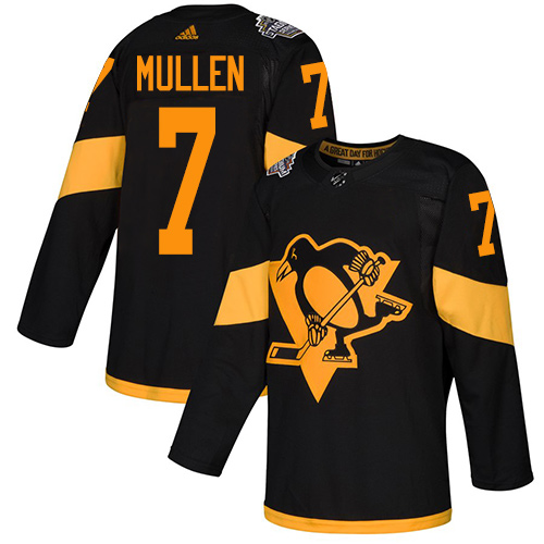 Penguins #7 Joe Mullen Black Authentic 2019 Stadium Series Stitched Hockey Jersey