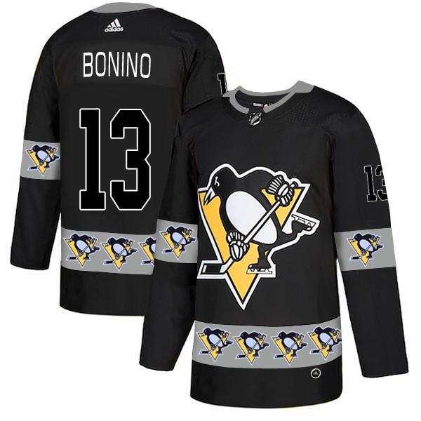 Penguins 13 Nick Bonino Black Team Logos Fashion Adidas Jersey