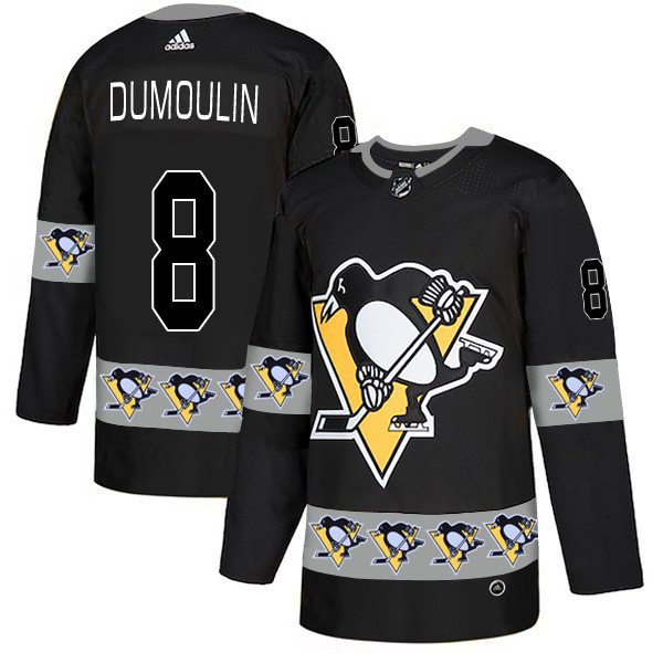 Penguins 8 Brian Dumoulin Black Team Logos Fashion Adidas Jersey