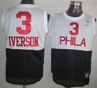 Philadelphia 76ers #3 Allen Iverson White-Black New Throwback NBA Jersey