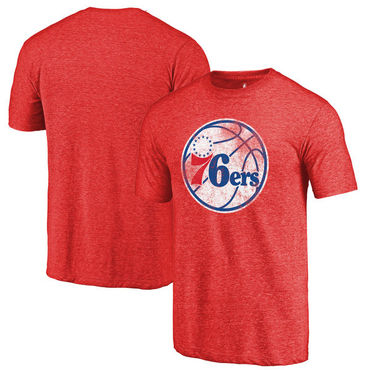 Philadelphia 76ers Fanatics Branded Red Distressed Logo Tri-Blend T-Shirt