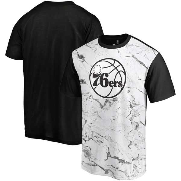 Philadelphia 76ers Marble Sublimated T Shirt White Black