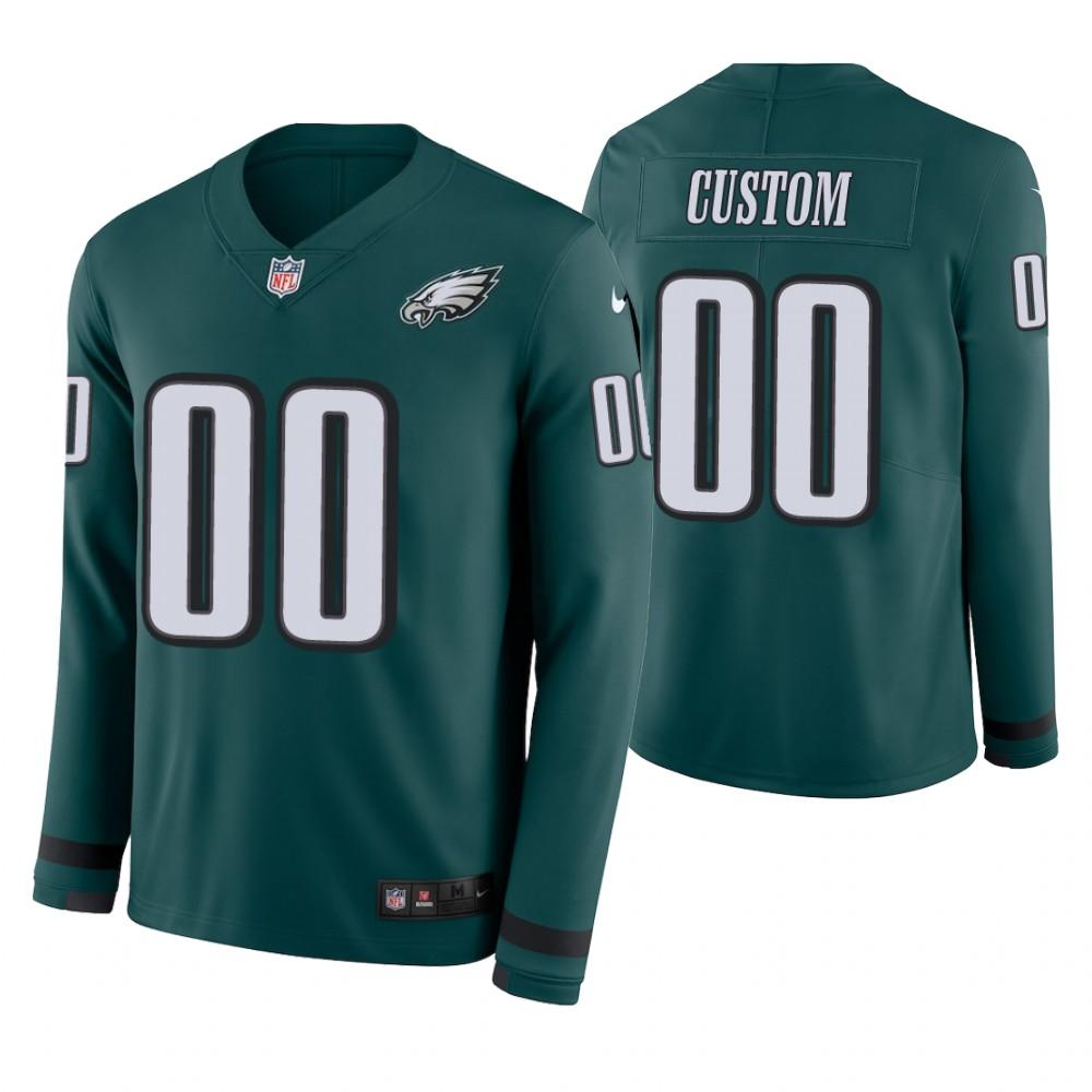 Philadelphia Eagles Custom Green Therma Long Sleeve Jersey