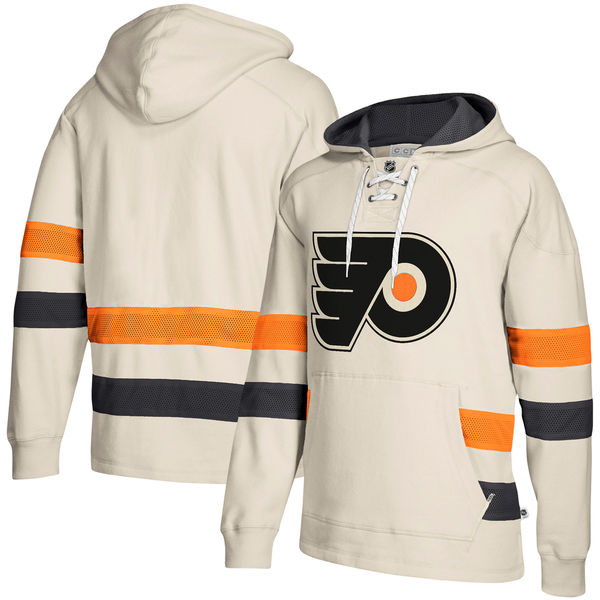 Philadelphia Flyers Cream Men's Customized All Stitched Hooded Sweatshirt