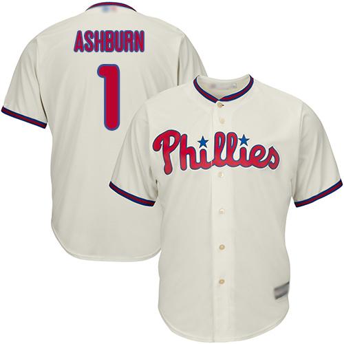 Phillies #1 Richie Ashburn Cream Cool Base Stitched Youth Baseball Jersey
