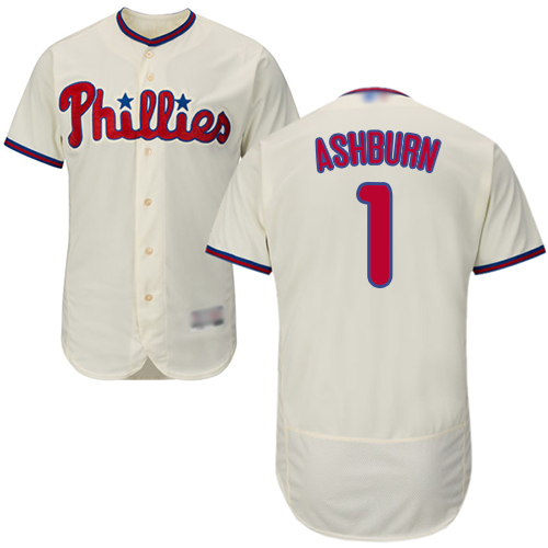 Phillies #1 Richie Ashburn Cream Flexbase Authentic Collection Stitched Baseball Jersey