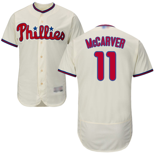 Phillies #11 Tim McCarver Cream Flexbase Authentic Collection Stitched Baseball Jersey