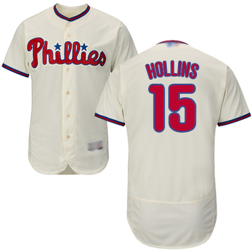Phillies #15 Dave Hollins Cream Flexbase Authentic Collection Stitched Baseball Jersey
