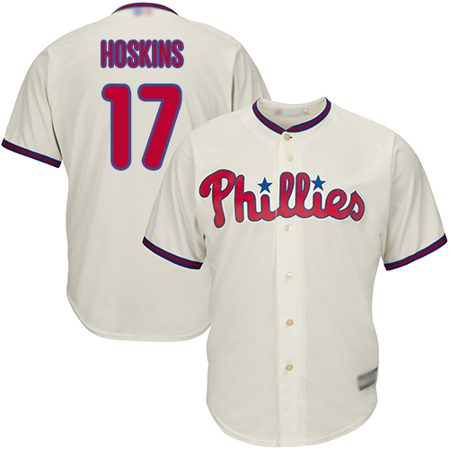 Phillies #17 Rhys Hoskins Cream New Cool Base Stitched Baseball Jersey