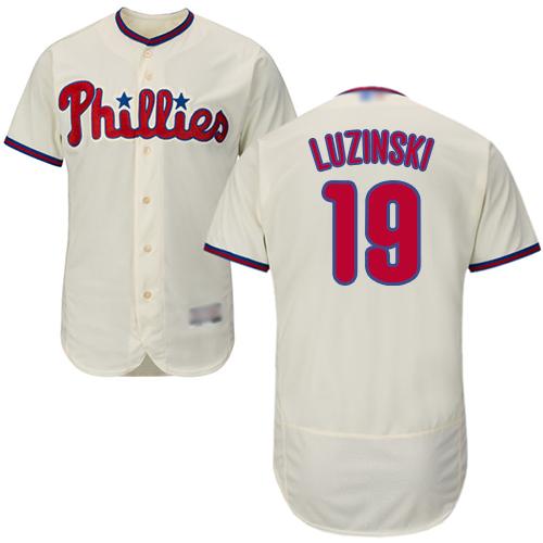 Phillies #19 Greg Luzinski Cream Flexbase Authentic Collection Stitched Baseball Jersey